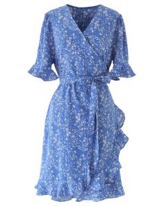 Ditsy Floral Bell Cuffs Wrap Midi Dress in Blue