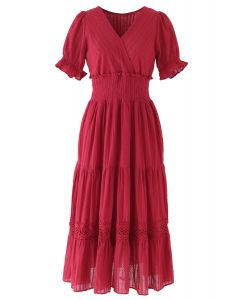 Embroidery Eyelet Shirred Frill Boho Dress in Red