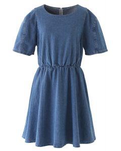 Open-Waisted Hi-Lo Denim Midi Dress in Blue
