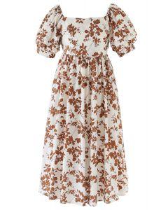 Foliage Print Open Back Midi Dress in Caramel