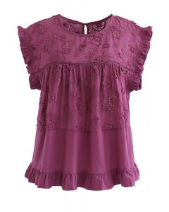 Embroidered Sunflower Eyelet Ruffle Top in Berry