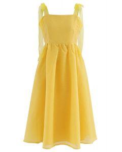 Tie-Strap Organza Midi Dress in Mustard