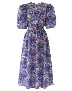 Floral Print Puff Sleeves Midi Dress in Purple