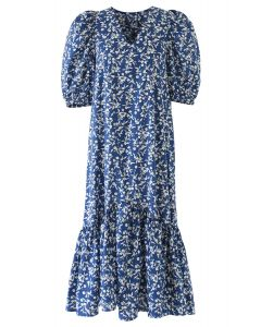 Floral Print Ruffle Dress in Blue