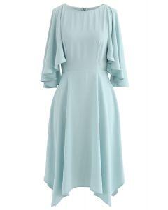 Asymmetric Cold-Shoulder Midi Dress in Mint