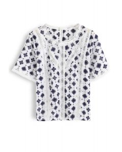 Embroidered Diamond and Circle Crochet Top
