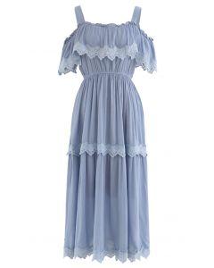 Crochet Trim Cold-Shoulder Dress in Dusty Blue