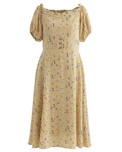 Sweetheart Neck Ditsy Floral Ruffle Midi Dress in Mustard