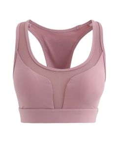 I-Shaped Back Pocket Mesh-Insert Low-Impact Sports Bra in Dusty Pink