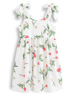 Cherry Print Tie Shoulder Midi Dress for Kids