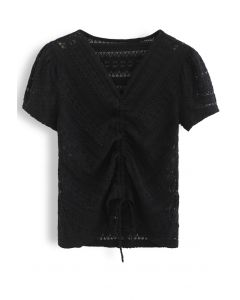 Drawstring Wavy V-Neck Lace Top in Black