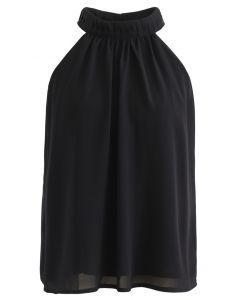 Pleats Embellished Halter Top in Black
