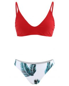 Adjustable Straps Leaf Print High-Cut Leg Bikini Set in Red