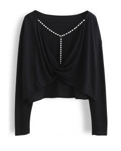 Pearl Trim Twist Open Back Crop Top in Black