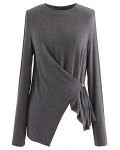 Side Button Sleeves Asymmetric Top in Smoke