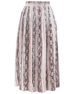 Snake Printed Pleated Midi Skirt