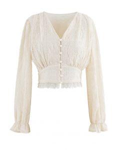 V-Neck Pearl Button Lace Top in Cream