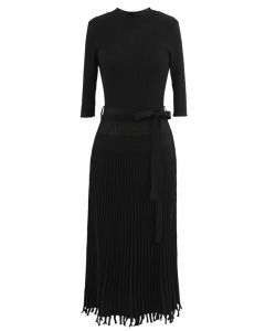 Mock Neck Fringed Hem Ribbed Knit Midi Dress in Black