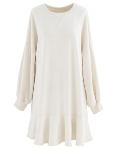 Ruffle Hem Sleeves Shift Mini Dress in Cream
