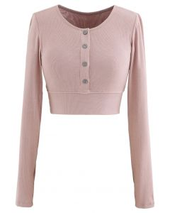 Buttoned Long Sleeves Crop Top in Dusty Pink