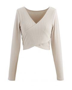 Crisscross Front Long Sleeves Ribbed Top in Sand