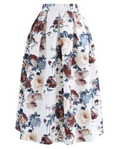 Pleated Baroque Floral Print Midi Skirt