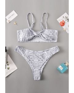 Knotted Snake Print High Leg Bikini Set