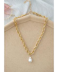 Teardrop Pearl Twist Chain Necklace