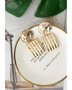 Gold Hammered Coin and Square Earrings