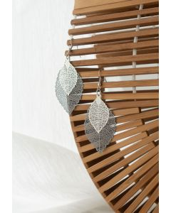 Boho Double Leaf Earrings in Black