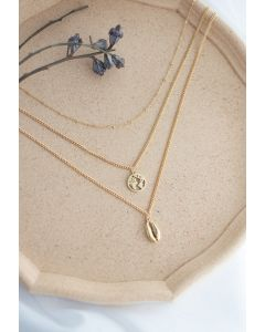 Triple-Layered Gold Map and Shell Necklace