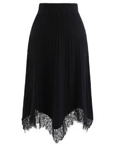 Lace Trim Pleated Knit Midi Skirt in Black