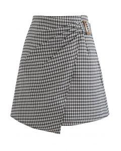 Side Ruched Belt Asymmetric Mini Skirt in Gingham