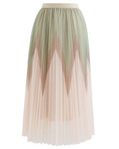 Zigzag Double-Layered Pleated Tulle Midi Skirt in Cream