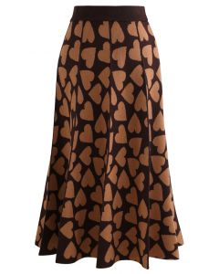 Full of Love A-Line Knit Midi Skirt in Brown