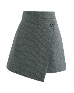 Button Flap Wool-Blended Mini Skirt in Dark Green