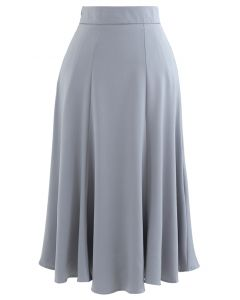 Satin A-Line Midi Skirt in Grey