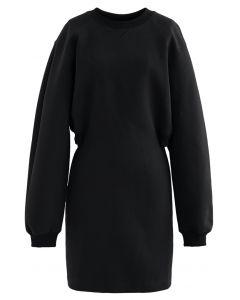 Open Back Sweatshirt Dress in Black