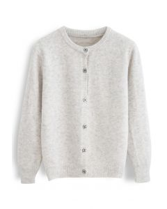 Button Placket Knit Cardigan in Sand