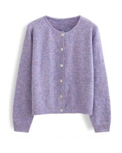 Button Placket Knit Cardigan in Purple
