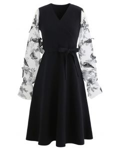 3D Butterfly Mesh Sleeves Wrap Knit Dress in Black