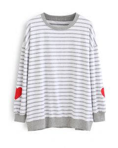 Grey Stripes Heart Patchwork Sweatshirt