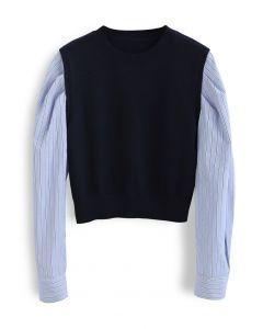 Stripe Sleeves Panel Knit Sweater in Navy