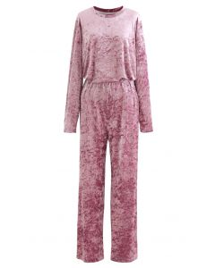 Shiny Velvet Long Sleeves Top and Pants Set in Dusty Pink