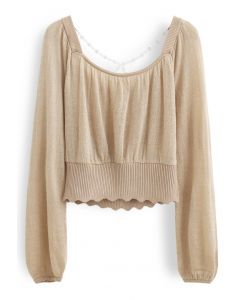 Crisscross Pearl Square Neck Crop Knit Top in Camel