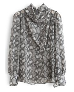 Snake Print Drape Semi-Sheer Top in Grey