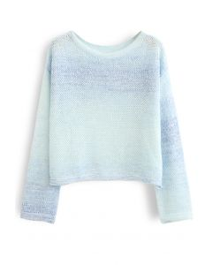 Variegated Open Knit Sweater in Light Blue