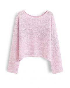 Variegated Open Knit Sweater in Pink
