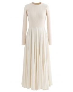 Knit Spliced Long Sleeves Maxi Dress in Cream
