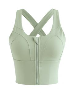 Cross Back Zipper Front Panelled Sports Bra in Pistachio